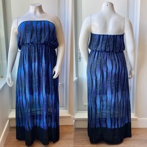Black & Blue Abstract Strapless Maxi Dress